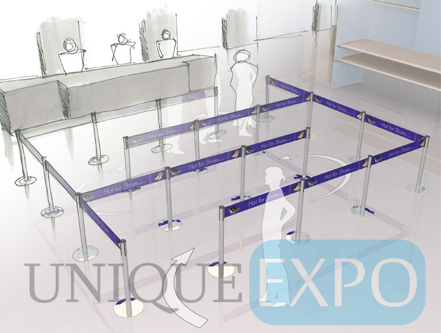 Line Queue with Six Inch Belt Stanchions