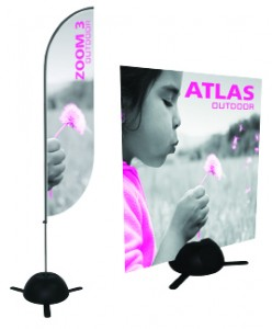 Atlas Outdoor Sign Holder Can Hold a Locally Printed Sign or One of Our Zoom Flag Banners